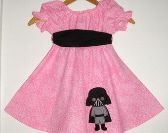 Star Wars Darth Vader Twirl Dress Pink twirl dress Black  sash Machine Appliqued dress 12,18 month 2t,3t,4t,5t,6,