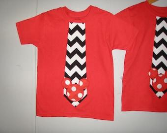 shirt Disney tee shirt red tie tee Mickey tee ,4/5 ,6,7,8 10, 12