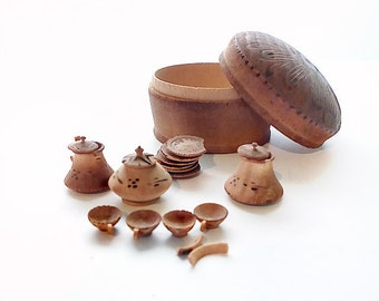Miniature Wooden Tea Set in Round Box With Wood Burned Lid