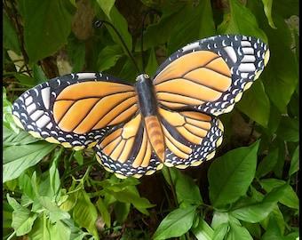 Monarch Butterfly Metal Garden Decor- Butterfly Plant Stake - Painted Metal Art - Metal Art - Outdoor Garden Art -PS-517