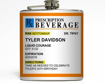 Custom Prescription Flask Personalized Details Rx Pharmacy Funny Men Women Birthday Gag Gift Stainless Steel 6 oz Liquor Hip Flask LC-1624