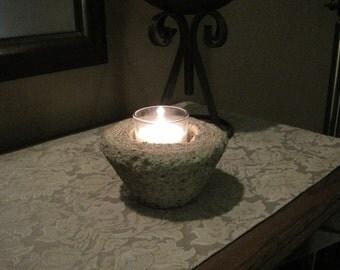 Rustic Concrete Votive Candle Holder
