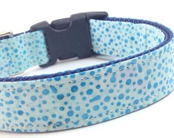Custom Dog Collar - Turquoise Polka Dots - Teal Sapphire Batik Dog Collar - Dot Batik Collar