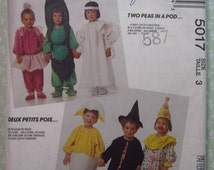 Toddlers Jumpsuit Costumes Size 3, Two Peas in Pod, Witch, Clown, Ballerina, Angel, Baby Chick Vintage 1990's McCalls Pattern 5017