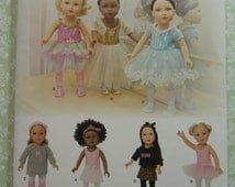 Sewing Pattern for 18 inch Dolls Clothes: Leotard, Tutu, Slippers, Tights, Leg Warmers, Hat, Ballerina Simplicity Pattern 1243 UNCUT