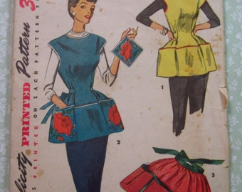 Vintage 1950s Cobbler Apron, Half Apron and Pot Holder Size Small Simplicity Pattern 4492 Easy to Sew Crafting Cut/Complete