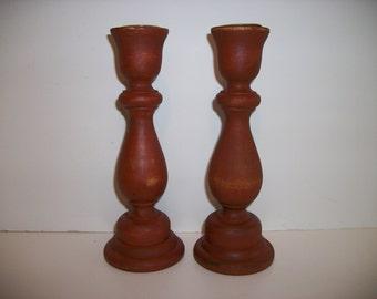 Brown Candlesticks Set of 2 Brown