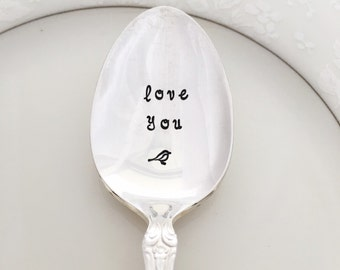 Love you. hand stamped teaspoon. Spoon vintage.
