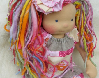 SALE -  Coraline -Sitting style Waldorf Inspired Doll , 15-16 inch