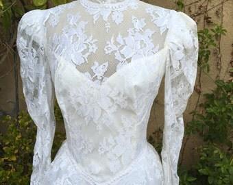 1970s  1980s white lace peplum asymmetric victorian romantic wedding dress NOS size M