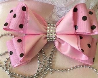 Pink-Brown Polk a Dot Bow