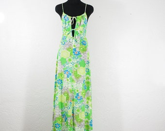 Vintage 1970s Jack Hartley Miami Blue Green Floral Spaghetti Strap Maxi Dress
