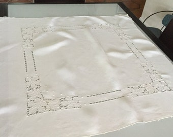 Linen Tablecloth Open Cut Design/ Madiera White Linen Small Tablecloth/ Antique Linen Tablecloth/ c1970s By Gatormom13