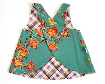 Plaid Poseys - a vintage pinafore - reversible - plaid and roses