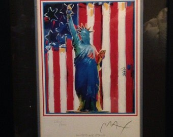"Peter Max's 9/11 Tribute, ""United We Stand"" Lithograph, Artist Signed with Certificate of Authenticity -- Gorgeous  Collectible, Great Gift!"