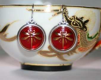 Vintage Red Czech dragonfly glass silver dangle artisan earrings