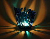 Candle Holder Aqua Blue Fused Glass Tealight Holder