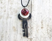 Vintage Industrial Safety Deposit Box Key Necklace with White and Dark Red Vintage Buttons