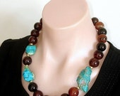 SHOP CLOSING SALE: Rare - Ashira Stunning Natural Parrot Blue Rough Chrysocolla Nuggets and Brown Black Luscious Agate