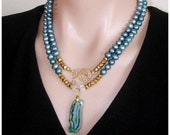 SHOP CLOSING SALE: Ashira Blue Fresh Water Pearls & Blue Green Druzy Geode Pendant Gemstone Necklace with Toggle