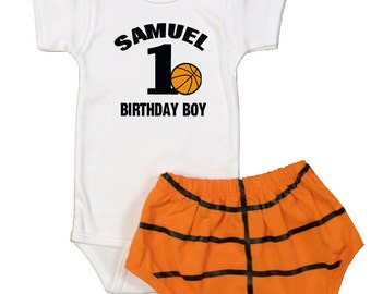 Personalized Baby Boys Basketball Theme 1ST Birthday Outfit