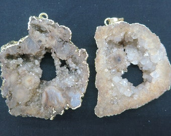 SIMILAR AS- 5pcs Large Light Coffee Druzy Geode Agate Pendant 38x52mm to 48x65mm- gold tone
