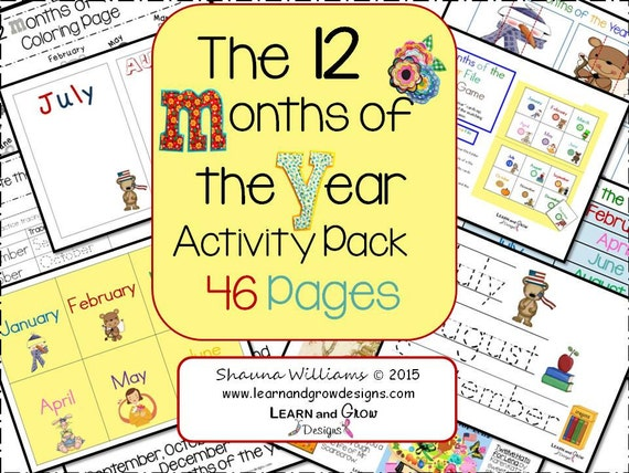 12 Months of the Year Activity Pack - UPDATED