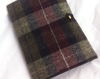A5 Harris tweed travel tablet kindle Samsung galaxy iPad mini case cover sleeve gift for him men red black green tartan planner organiser
