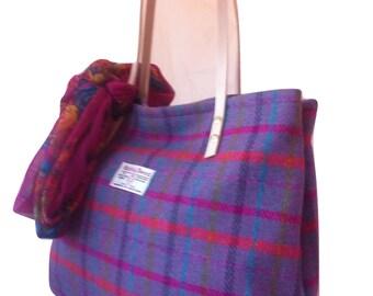 harris tweed bag,  purple tote, tweed tote, tweed purse, Scottish gift, womens gift