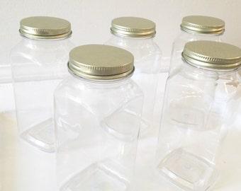 16 oz Plastic Bottles with Gold Caps | milk bottles | plastic jars | container | set of 10