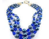 1950's Cobalt Blue Glass & Simulated Pearls 3-Strand Adj. Necklace - Japan, Exc. Cond.
