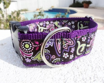 "Large Dog Collar Purple Paisley 1.5"" wide Side Release buckle or Martingale collar adjustable - see 3/4"" & 1"" widths"