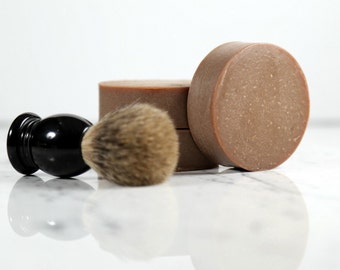 Sandalwood Patchouli Round Shave Bar.  Shave Soap.  Shaving Soap.