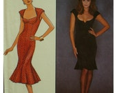 """Bombshell Dress Pattern, Fitted, Open Neck, Bra Inserts, Cap Sleeves, Princess Seams, Flared Hem, Style 1109 UNCUT Size 6 Bust 30.5"""""""