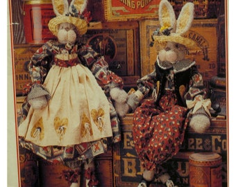 """Funky Bunnies Pattern, Stuffed Rabbits, Clothing, Male and Female, McCalls No. 749 UNCUT Size 34"""" (86cm) Tall"""