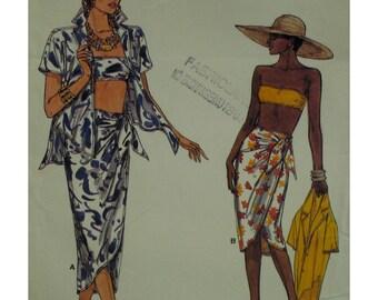 Beach Wear Pattern, Bra, Wrap Skirt, Shirt, Notched Collar, Short Sleeves,Shaped Back Hem, Side Tie Skirt, Vogue No. 9298 UNCUT Size 6 8 10