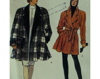 Flared Coat Pattern, Wrap, Unlined, Notched Collar, 3/4 Length, Raglan Sleeves, Roll-back Cuffs, Tie Belt, Vogue No.8141 UNCUT Size 12 14 16
