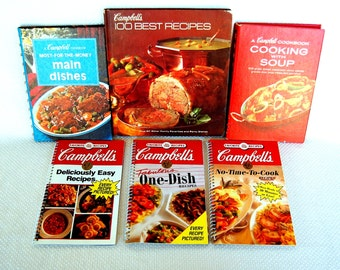 Set of 6 Vintage Campbell's Cookbooks Favorite All Time Recipes, Cooking With Soup, Main Dishes, Family Favorites and party Dishes   CB348