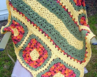 Wildflower Granny Square Afghan Pattern