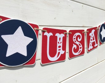 USA Banner, patriotic banner, red white and blue, fourth of july banner, summer decoration, picnic banner, patriotic photo prop, stars