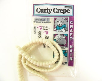 "2 - Curly Crepe Wool Doll Hair Off White by All Cooped Up 100% Wool, Two 12"" Lengths"