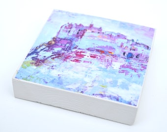 Edinburgh Castle: colourful woodblock made from an oil painting by Sally Fisher