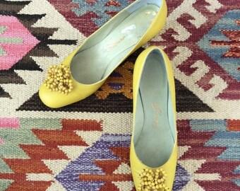 SALE 1960's Yellow Leather Heels w/ Beaded Details Vintage Kitten Heels Size 6 by Maeberry Vintage