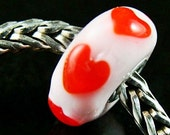Red Hearts fits Trollbeads Small Core European Charm Bead BHB SRA