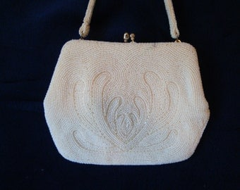 Vintage beaded purse, white small purse, white beading, purse with a clasp