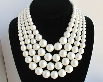 Large Faux Pearl Multi Strand Choker Necklace - Vintage