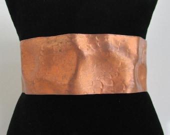 Wide Wavy Solid Copper Cuff Bracelet - Vintage w/ Subtle Hammered Texture
