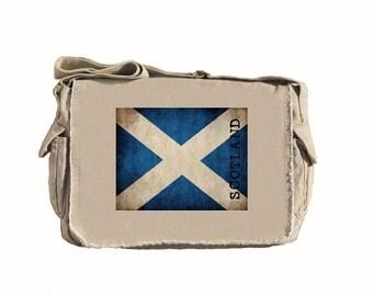 Canvas Messenger Bag - Scotland - Book Bag - Computer Bag - Scotish Flag - Putty