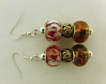 Red and Brown Lampwork Bead Earrings With a Gold Rose Bead, Jewellery, Pierced Ears, Accessories, Gift, Birthday, Christmas, Anniversary