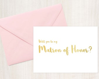 Printable Matron of Honor Card, Matron of Honor Proposal, Instant Download, printable cards, wedding card, bridal party cards
